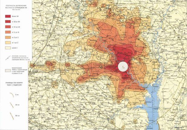 То, чего не хватало в книге - карта радиационного заражения